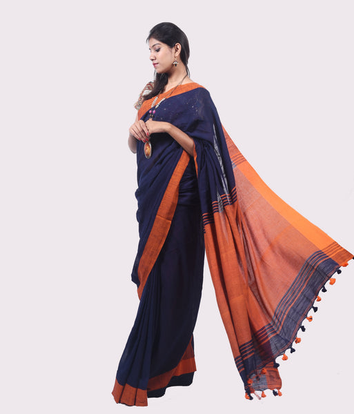 Khadi Cotton Navy Blue and Orange Saree with Pom-Poms $ IWK-00576