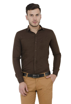 Baluchi Solid Regular Full Sleeve Linnen Brown Formal Shirt $ BLC_MNSHIRT_09