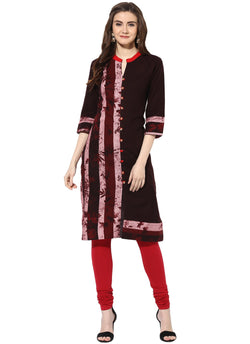 Mytri Women's Brown Rayon Printed Straight Kurta $ 9000497-BROWN