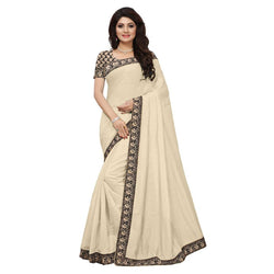16to60trendz Beige Chanderi Lace Work Chanderi Saree $ SVT00130