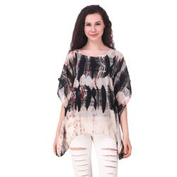 Fame 16 Printed Women'S Round Neck Black Georgette Flared Chevron Printed Kaftans $ F16-1600183
