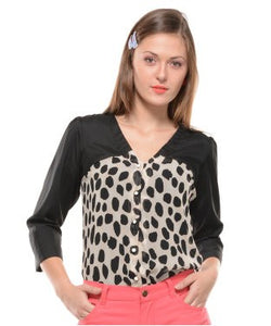 Drapes & Silhouettes Black And Cream 3/4 Sleeve Top
