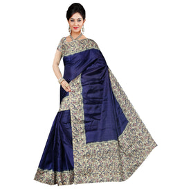 BL Enterprise Women's Bhagalpuri Cotton Silk Blue Color Saree With Blouse Piece $ BLLB-46
