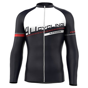 4ucycling Men's Team Wear Cycling Jersey Long Sleeve Black-Red long sleeve cycling jersey
