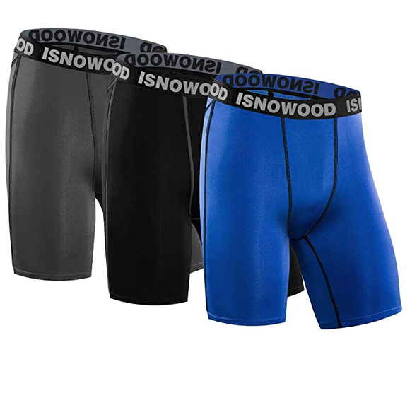 isnowood Men's 3 Pack Performance Compression Shorts