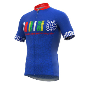 Pursuit - Men's Short Sleeve Full Zip Cycling Jersey, Blue