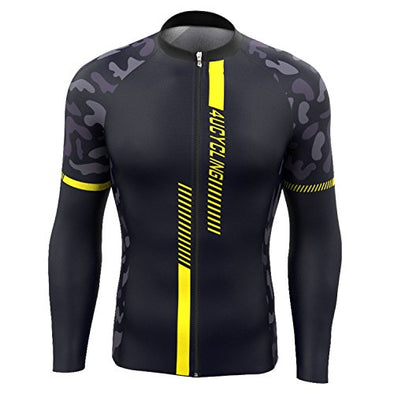 4ucycling Men's Team Wear Cycling Jersey Long Sleeve Black-Yellow long sleeve cycling jersey