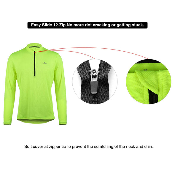 4ucycling Men's Long Sleeve Quick Dry Bike Jersey - US Size Breathable Basic Shirts Sports