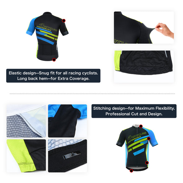 Men's Short Sleeve Cycling Jersey Full Zip Moisture Wicking, Breathable Running Tops - Bike Biking Shirt from 4ucycling
