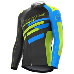 Tempo - Men's Full Zip Long Sleeve Cycling Jersey, Blue Dynamic