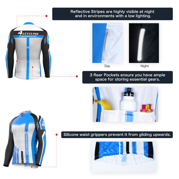Tempo - Men's Full Zip Long Sleeve Cycling Jersey, White Giant