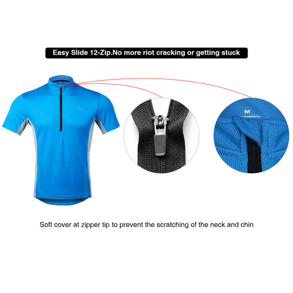 Classic - Short Sleeve Quick Dry Bike Jersey, Blue/Gray
