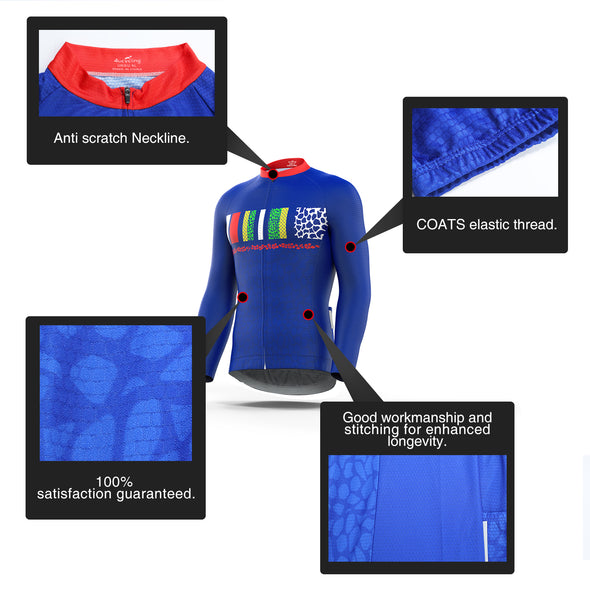 Men's Full Zip Long Sleeve Cycling Jersey, Blue