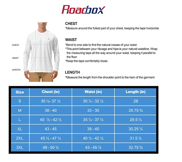 Roadbox Men's Sun Protection UPF 50+ UV Outdoor Long Sleeve Dri-fit T-Shirt Rashguard Shirts for Running, Fishing, Hiking