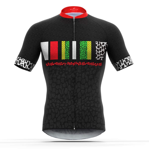 Pursuit - Men's Short Sleeve Full Zip Cycling Jersey, Black/Red