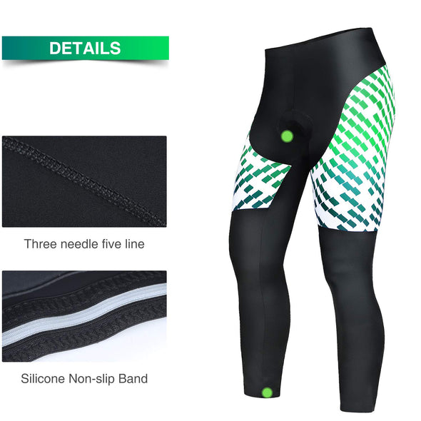 Chaser - Professional 3D Gel Padded Cycling Pants, Black/Green