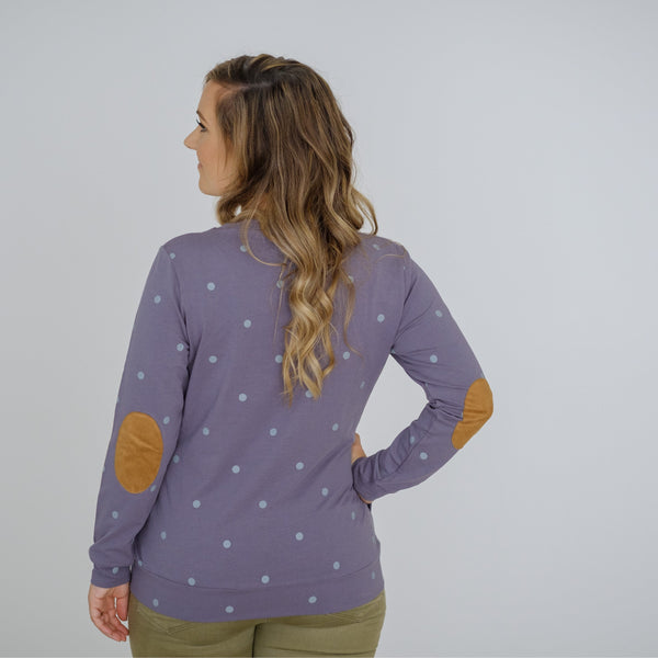 Polka Face Sweater | Pastel Plum
