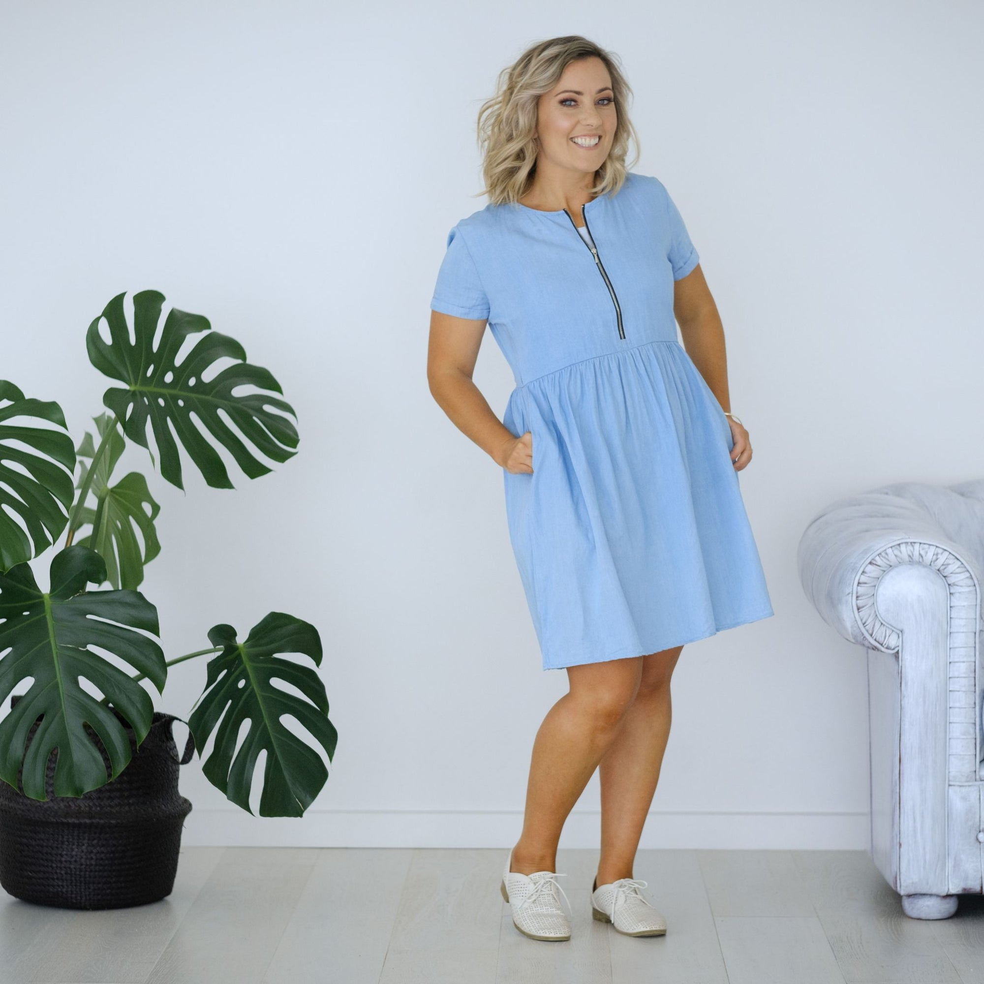 Henley Dress | Chambray