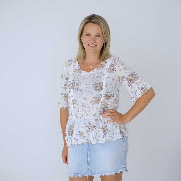 Sienna Top | White Floral