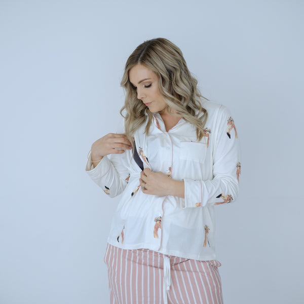 PRE-ORDER Breastfeeding Pyjamas | Pink Flamingo