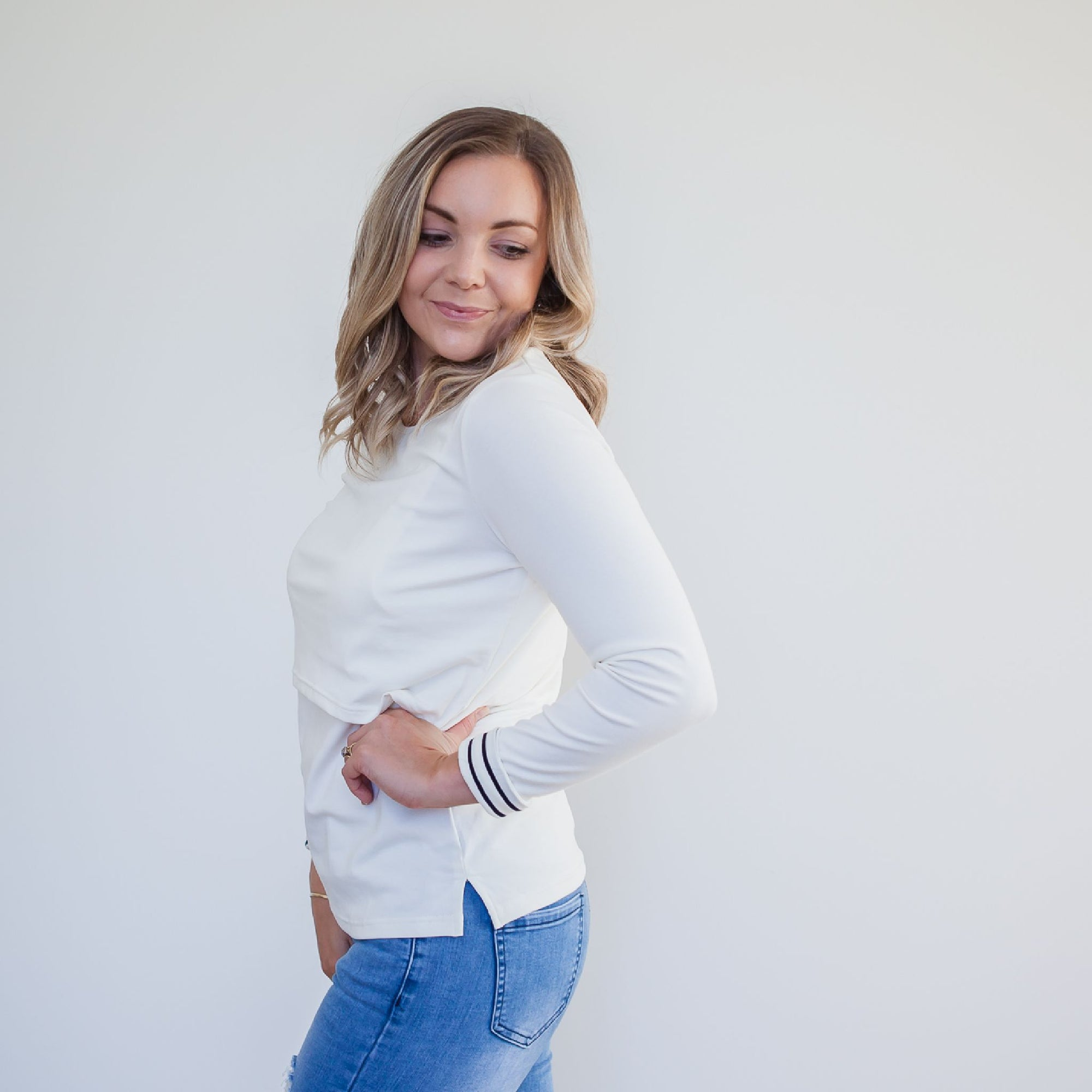 Ava Long Sleeve Crop Tee | Marshmallow White