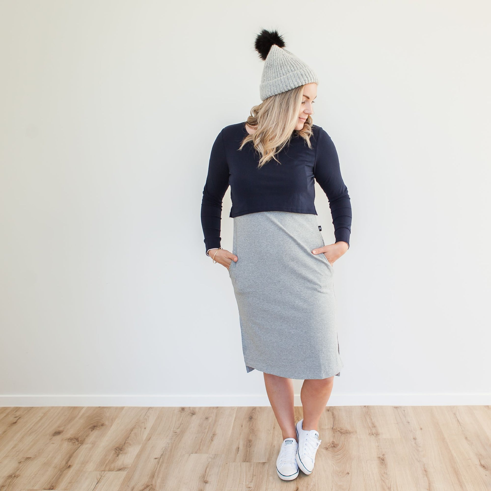 Alexis Crop Dress | Navy/Grey