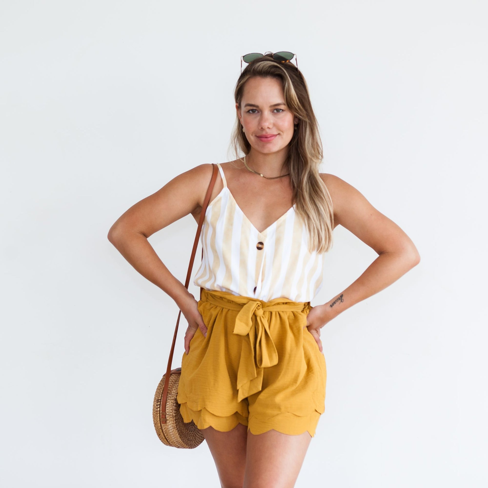 Emmie Scalloped Shorts | Mustard