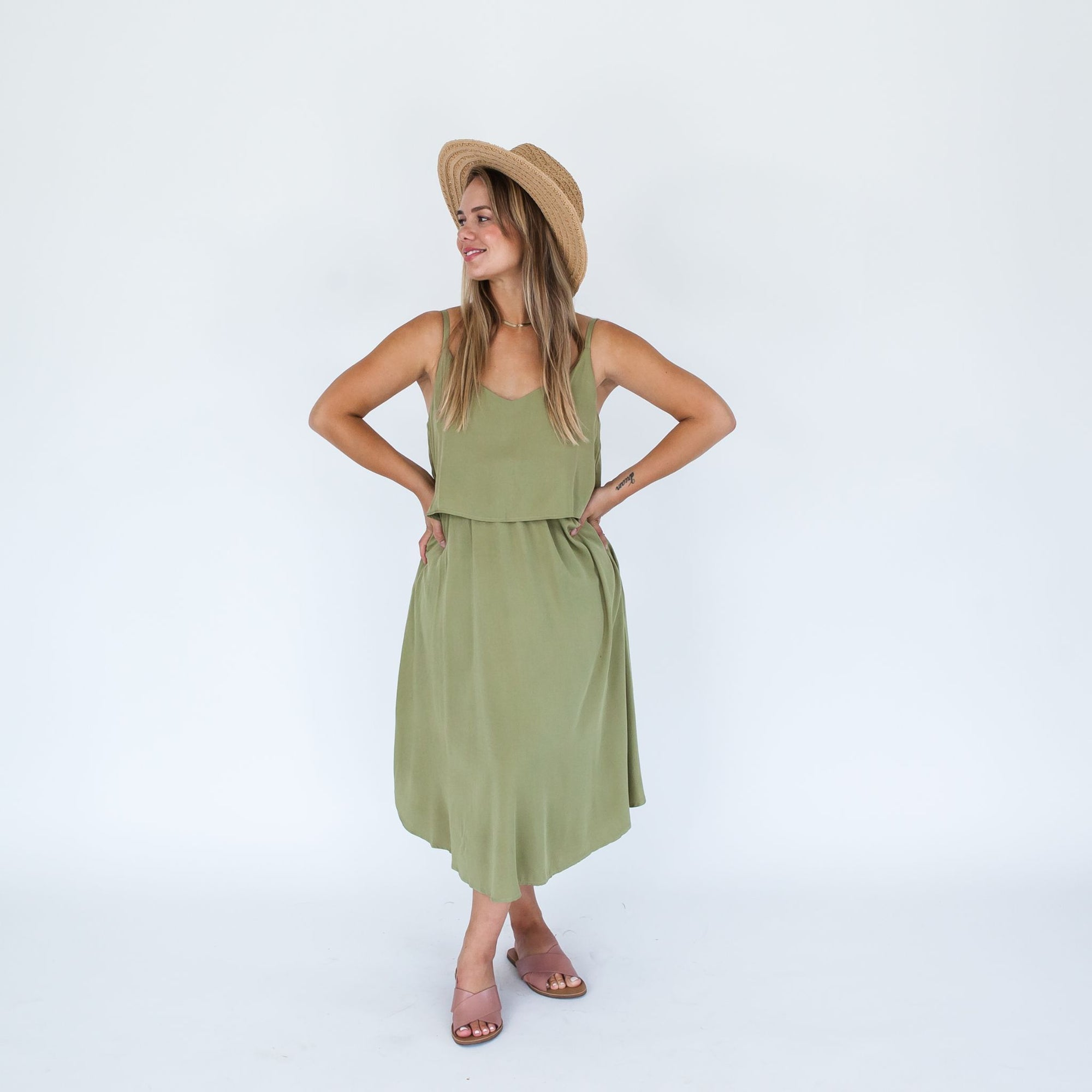 Ruby Dress Midi | Forest Olive