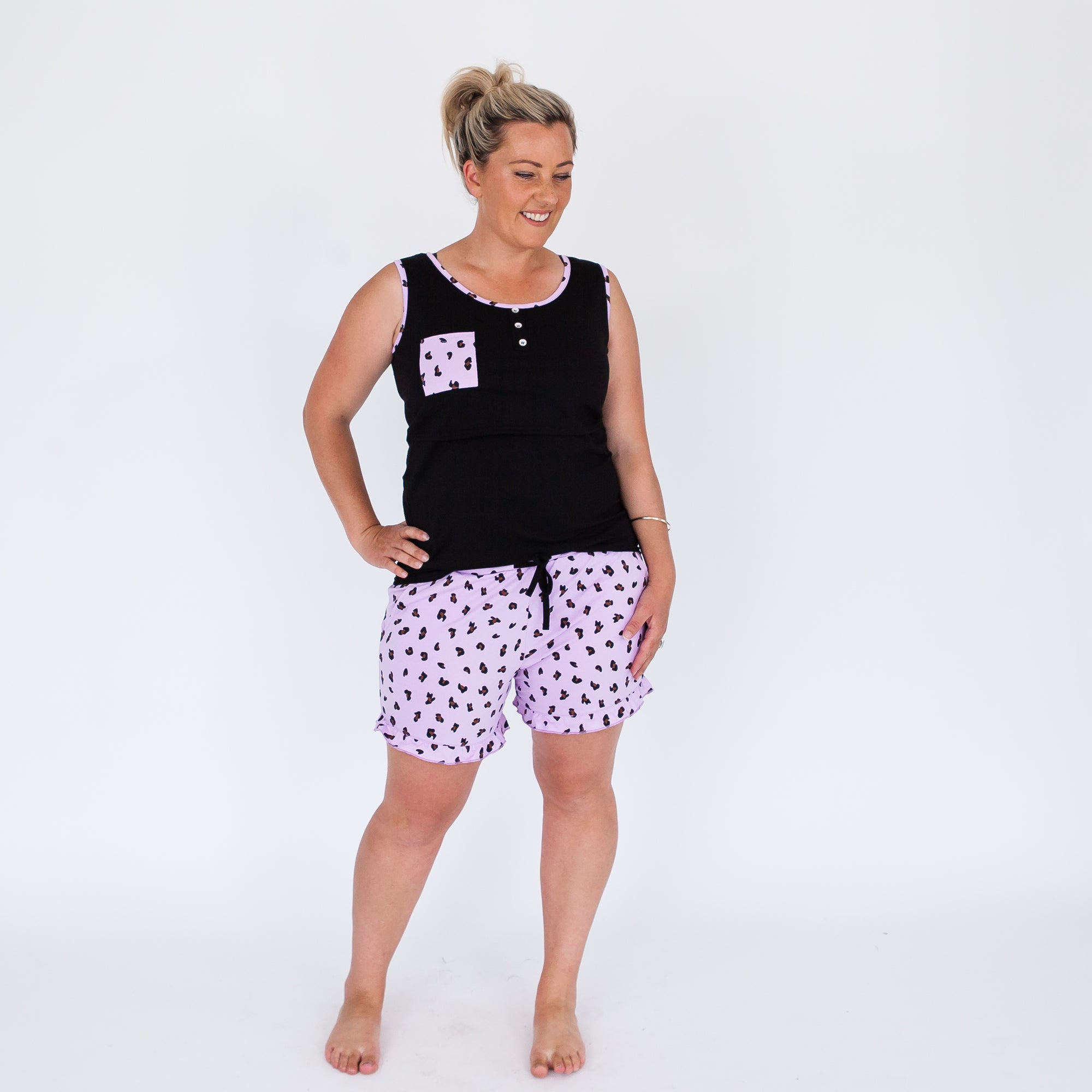 Breastfeeding Pyjamas | Lilac Leopard