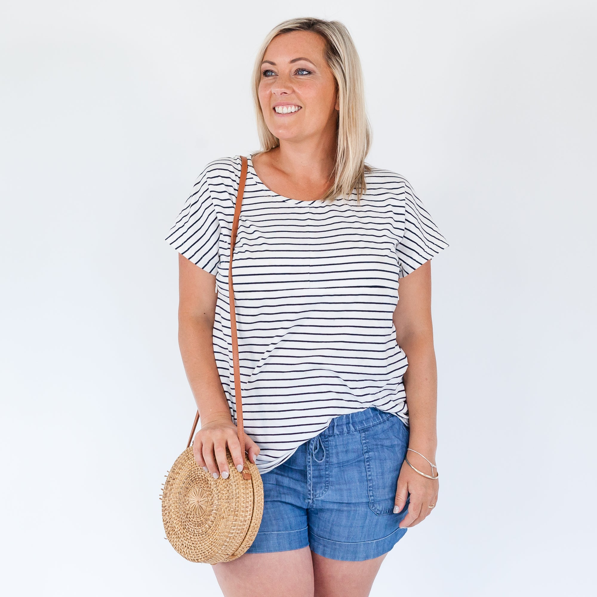 Lana Tee | White/Navy Stripe