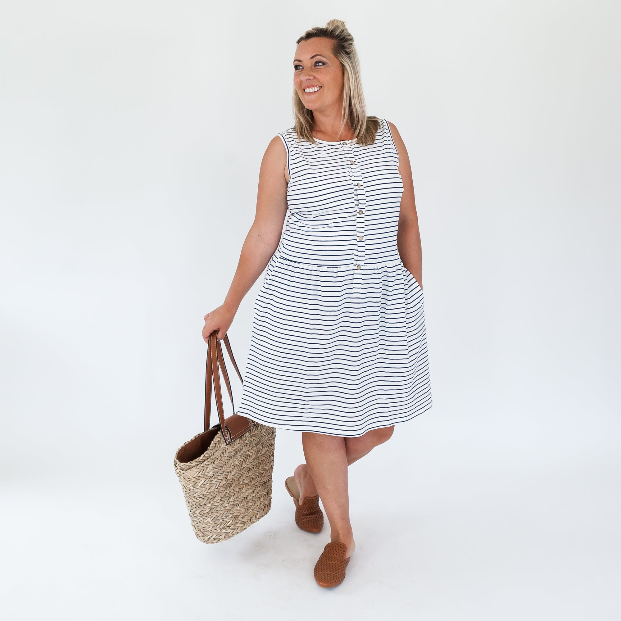 Billie Dress | White/Navy Stripe