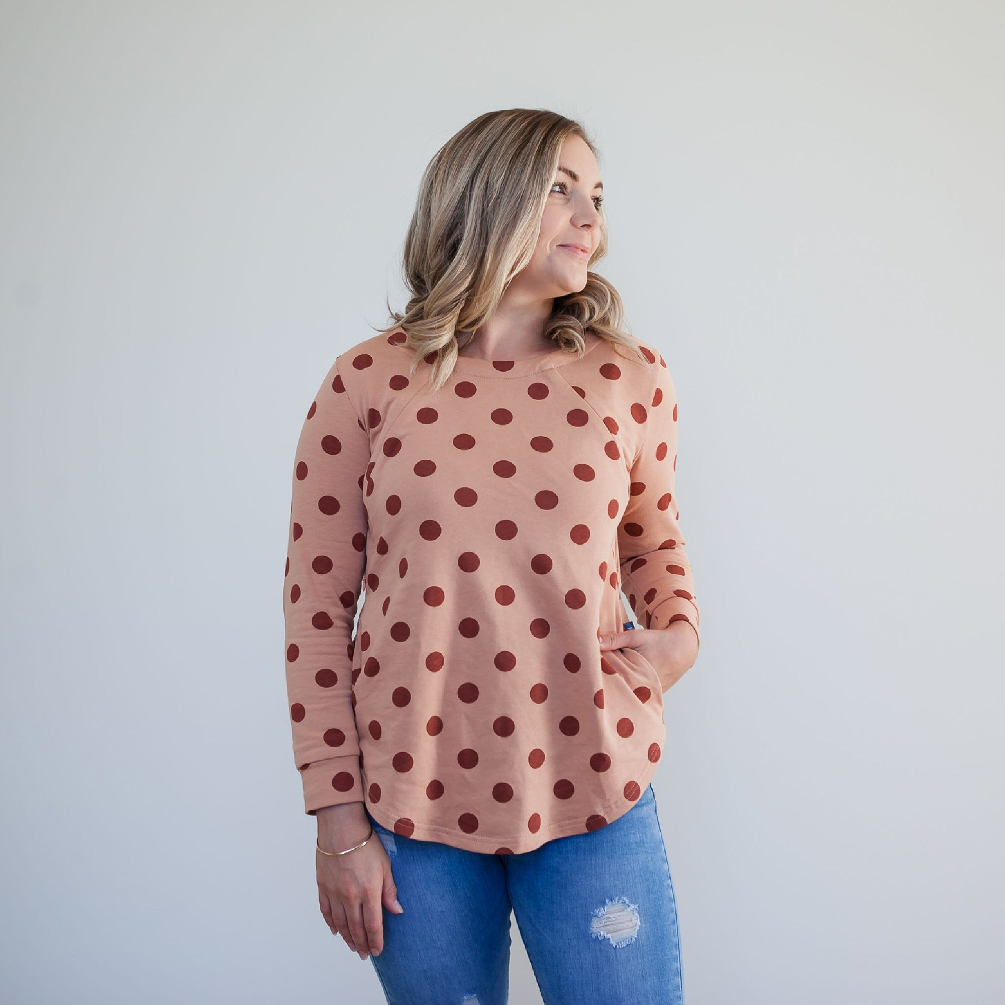 Willow Polka Sweater | Apricot Rust