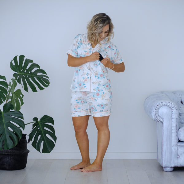 Breastfeeding Pyjamas | Pop Floral Short Sleeve
