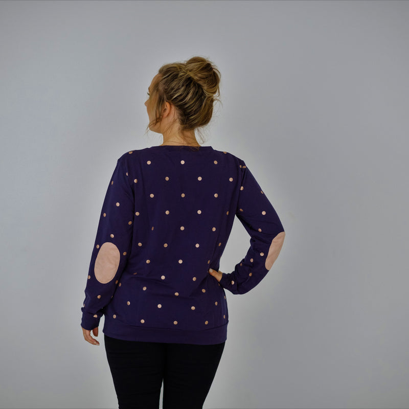 Polka Face Sweater | Navy Rose Gold