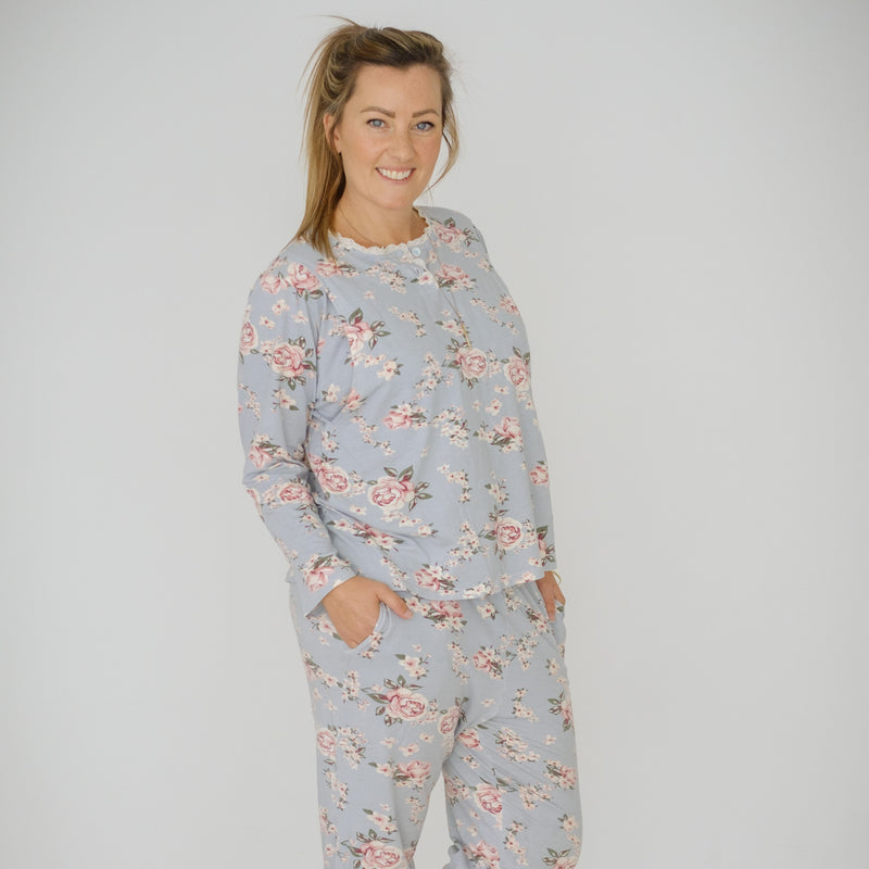 Breastfeeding Pajamas | Duck Egg Blue Floral