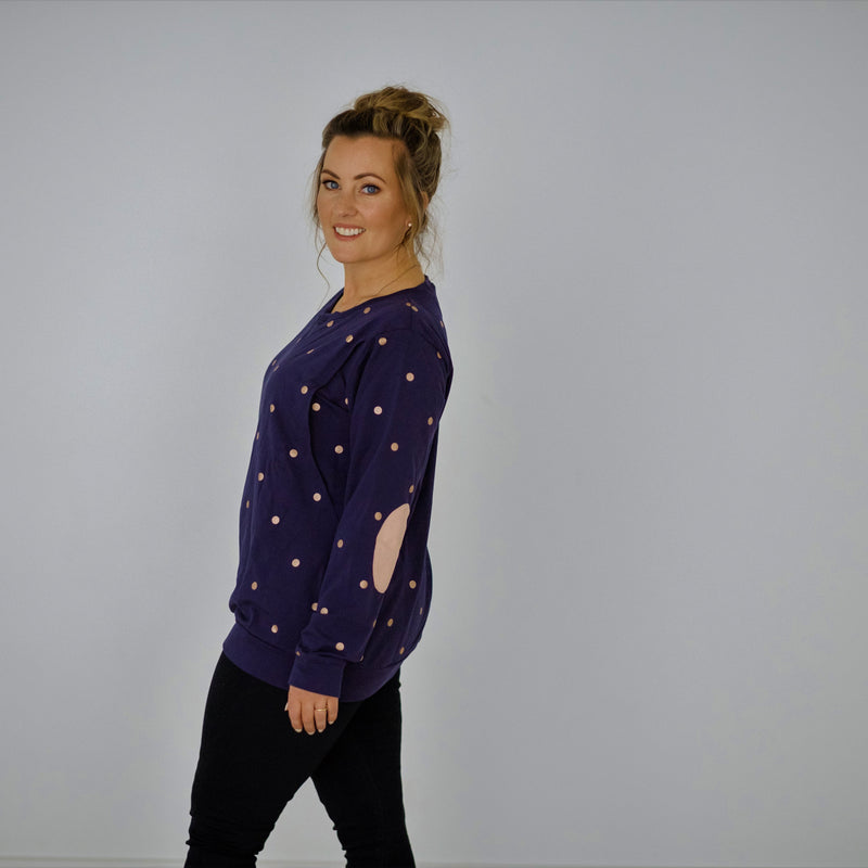 Polka Face Sweater | Navy Rose