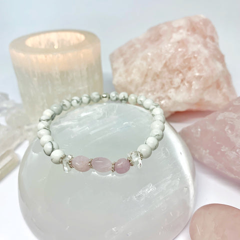 Kunzite, Howlite and Clear Quartz with sterling silver beads