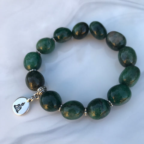 Fuchsite stretch bracelet with a Buddha charm