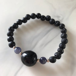 Black Tourmaline and Iolite diffuser bracelet