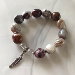 Crazy Lace Agate and Clear Quartz stretch bracelet