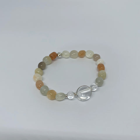 Sunstone and Clear Quartz stretch bracelet with sterling silver beads