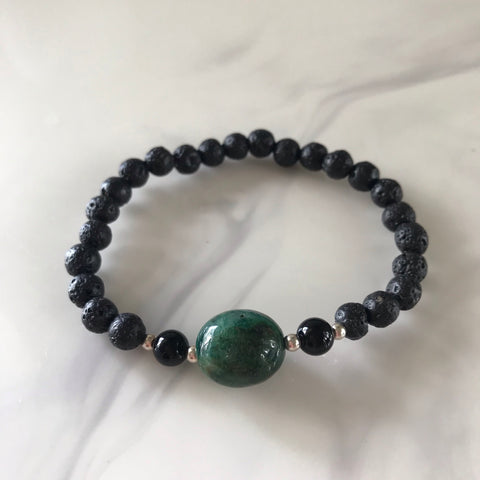 Fuchsite and lava stone stretch bracelet