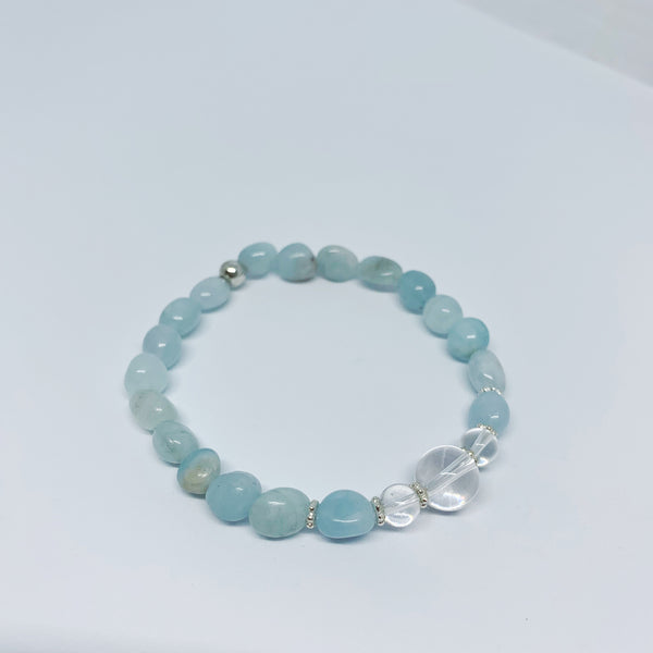 Aquamarine and Clear Quartz Stretch Bracelet