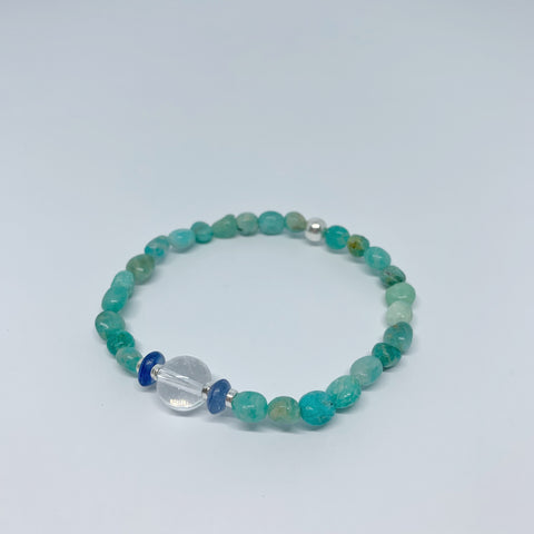 Amazonite, Kyanite and Clear Quartz stretch bracelet with sterling silver beads