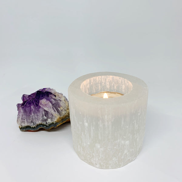 Selenite Tealight Candle Holder- Small