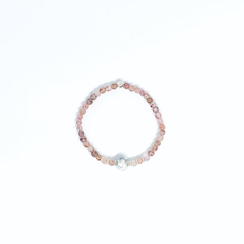 Strawberry Quartz and White Howlite stretch bracelet with sterling silver