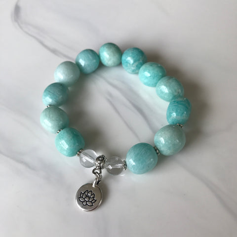 Amazonite and Clear Quartz stretch bracelet with a lotus charm