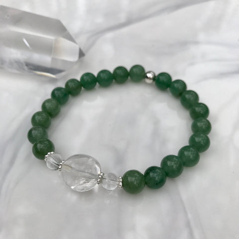 Green Aventurine and Clear Quartz crystal stretch bracelet with sterling silver beads
