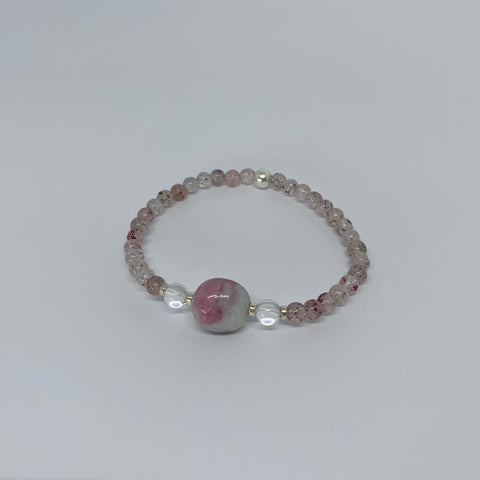 Strawberry Quartz and Pink Tourmaline stretch bracelet with sterling silver beads