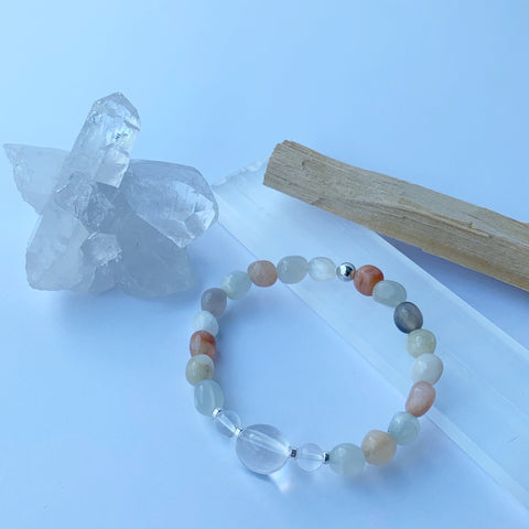 Moonstone and Clear Quartz stretch bracelet with sterling silver beads
